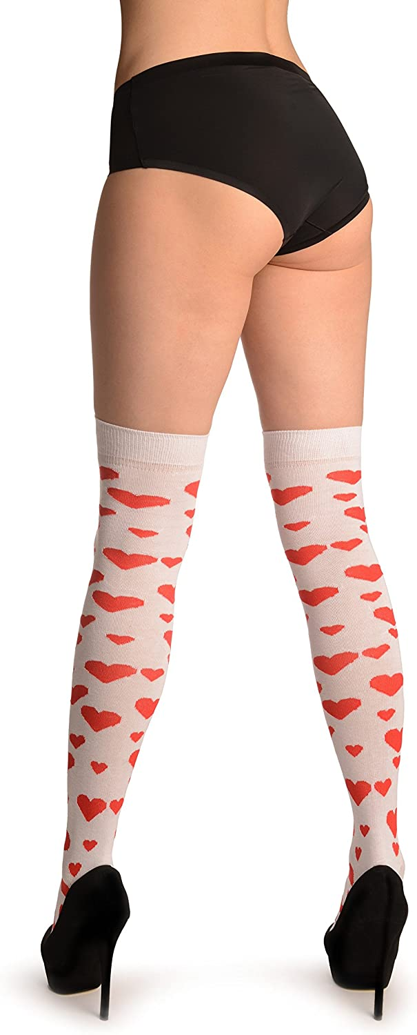 Red Hearts On White Over The Knee Socks