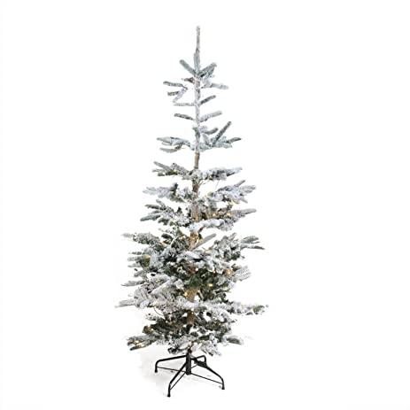 Amazon.com: 6.5' Pre-Lit Noble Fir Artificial Flocked Christmas ...