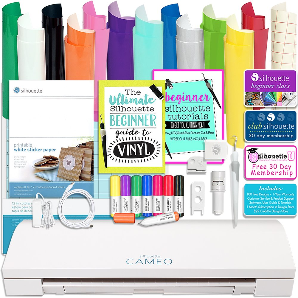 Silhouette Cameo 3 Bluetooth Bundle with 12x12 Inch Sheets of Oracal 651 Vinyl, Sketch Pens, Sticker Paper, Guide Books, and More by Silhouette America