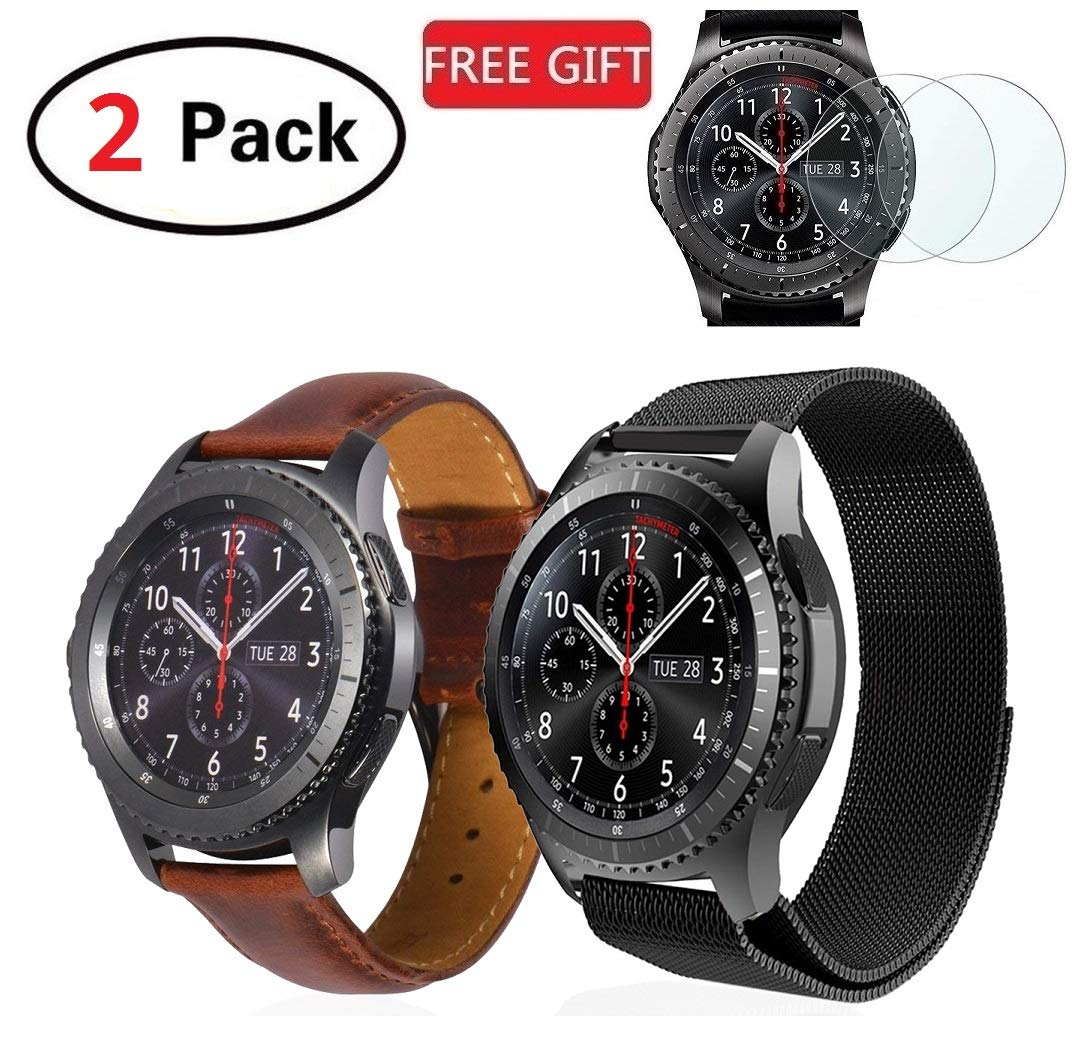 (2 Pack) R&B Bands Compatible Gear S3 Frontier & Classic & Galaxy Watch 46mm, Stainless Steel + Genuine Leather 22mm Strap Replacement Wristband Compatible Samsung Gear S3, 2x Screen Protector As Gift by Rockonbullets