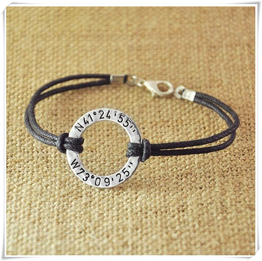 77d7817d44 Amazon.com: dandelion Personalized Washer Bracelet, Custom Longitude  Latitude, Hammered Stamped GPS Bracelet, Coordinates Jewelry, Personalized  Rope ...