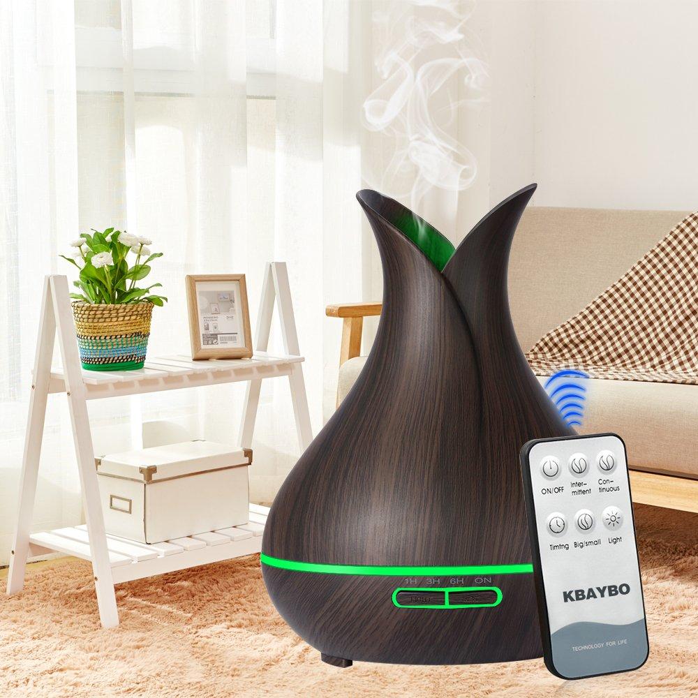 Fernbedienung Holzmaserung Luftbefeuchter Aromatherapie Diffusor 7 Farben LED Zeiteinstellung KEBEIER