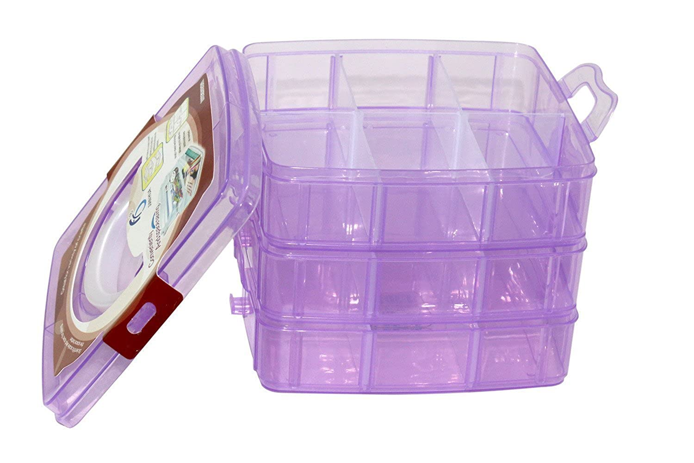 406e51587 Homies International, 3 Layers, 18 Grids, Transparent Plastic Jewellery  Organizer Storage Compartment Box. Dimensions: 13(H) x 15.5(L) x 16(W) cms,  ...