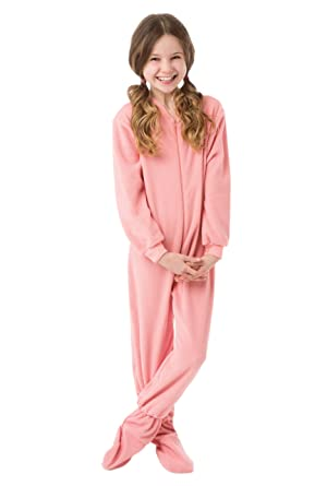 Amazon.com: Big Feet Pjs Big Girls Kids Pink Fleece Footed Pajamas ...