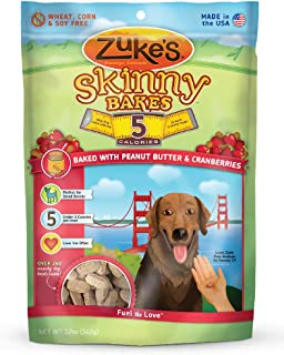 product image for Zuke'S Skinny Bakes Dog Treats, Peanut Butter And Cranberries, 5-Calories, 12-Ounce