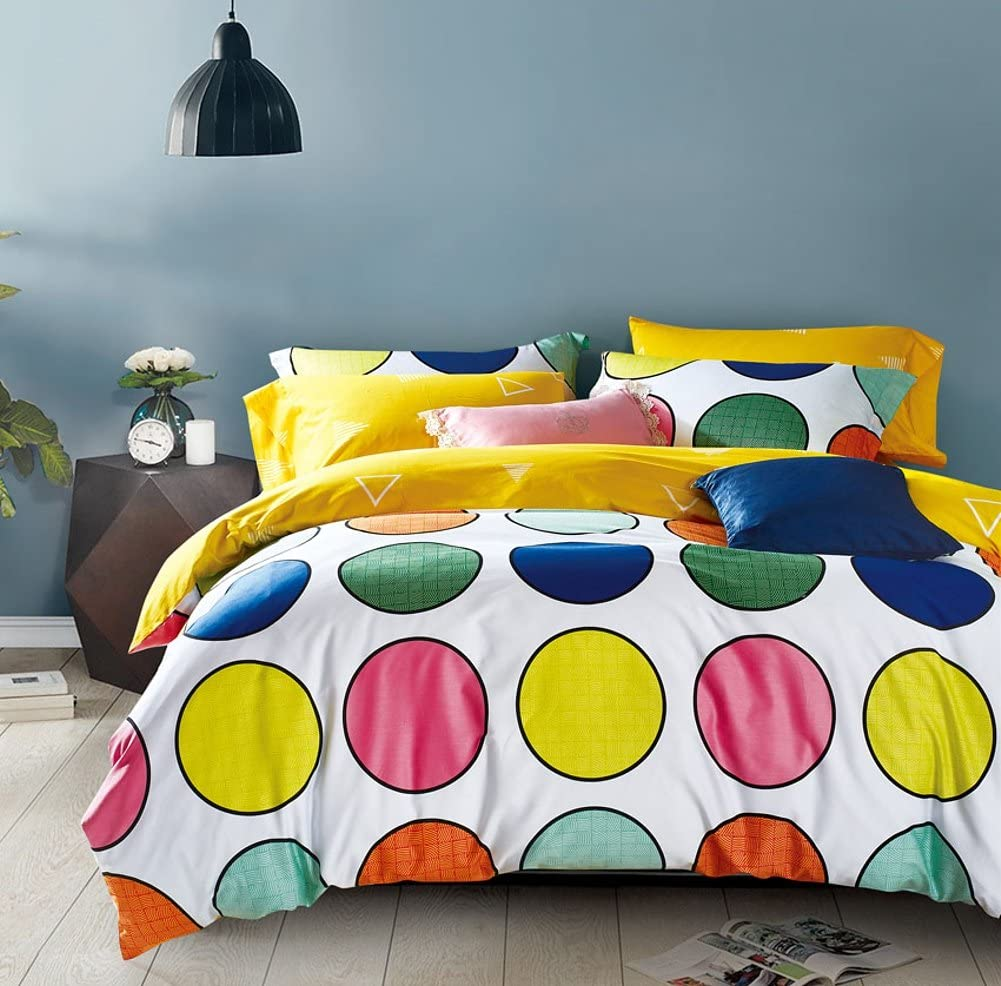 Bright Colorful Modern Geometric Print Kids Duvet Cover Set 100% Cotton Geo Diamond Circles Large Polka Dot Stripes Casual Neutral Teens Boy's or Girl's Bedding (Full/Queen, Colorful Circle)