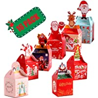 16 Piece Small Christmas Treat Boxes for Xmas Eve Goody Candy Gift Cute Holiday Box Gifts Party Favor Bags