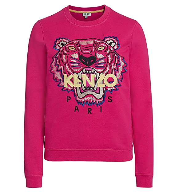 Kenzo Women s Pink Embroidered Icon Tiger Sweatshirt Jumper Top Signature  ... 4ec5954d77