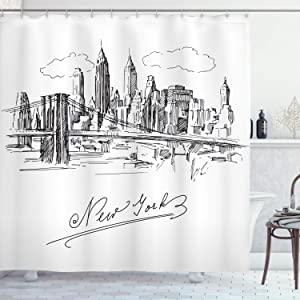 Ambesonne NYC Shower Curtain, New York City Contemporary Business Metropolis Corporate Town Monochromic Sketch, Cloth Fabric Bathroom Decor Set with Hooks, 75