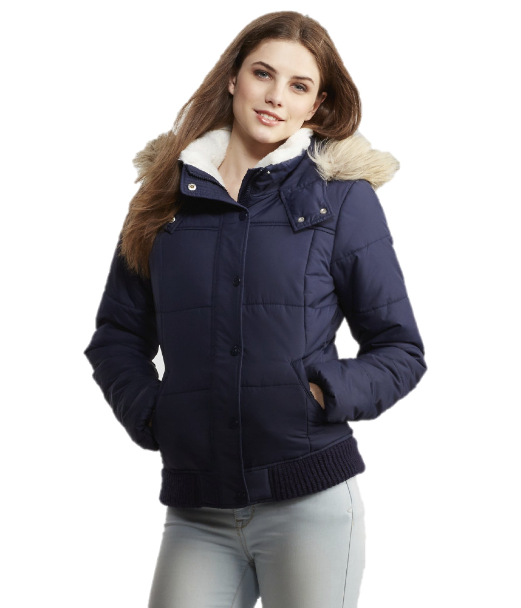 Aeropostale Womens Faux Fur Trimmed Puffer Jacket Large Navy