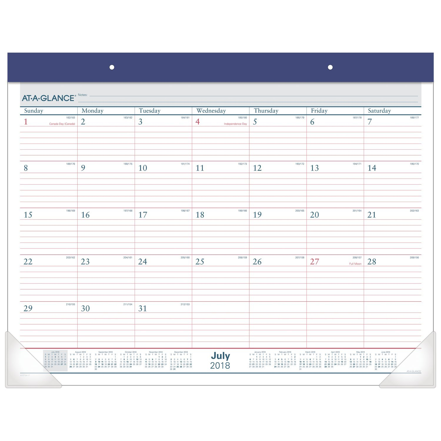 at-A-Glance 2018-2019 Academic Year Desk Pad Calendar, Standard, 22 x 17, Two Color (AYST2417)
