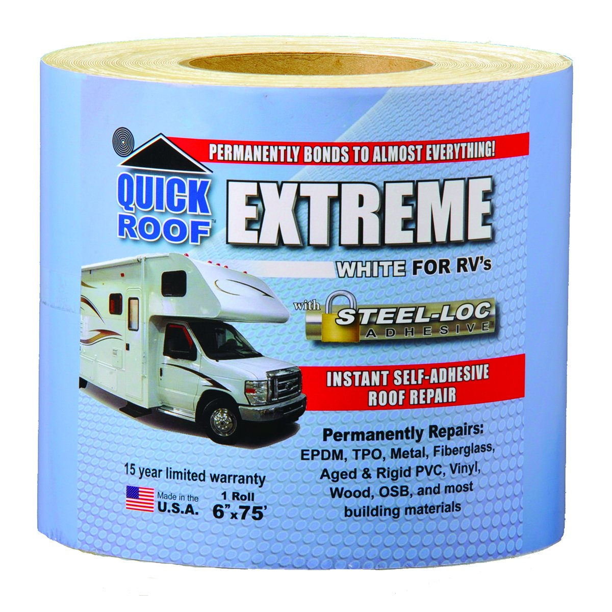 White for RVs Cofair UBE625 Quick Roof Extreme with Steel-Loc Adhesive 6 x 25