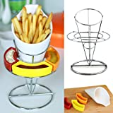 Stoneware French Fries Holder - Use as a Party Platter, Party Serving Dishes or as a Chips and Salsa Serving Tray and Platters, Measures 8.85H x4.9Wx4.3L inches - Exclusively by Uno Casa