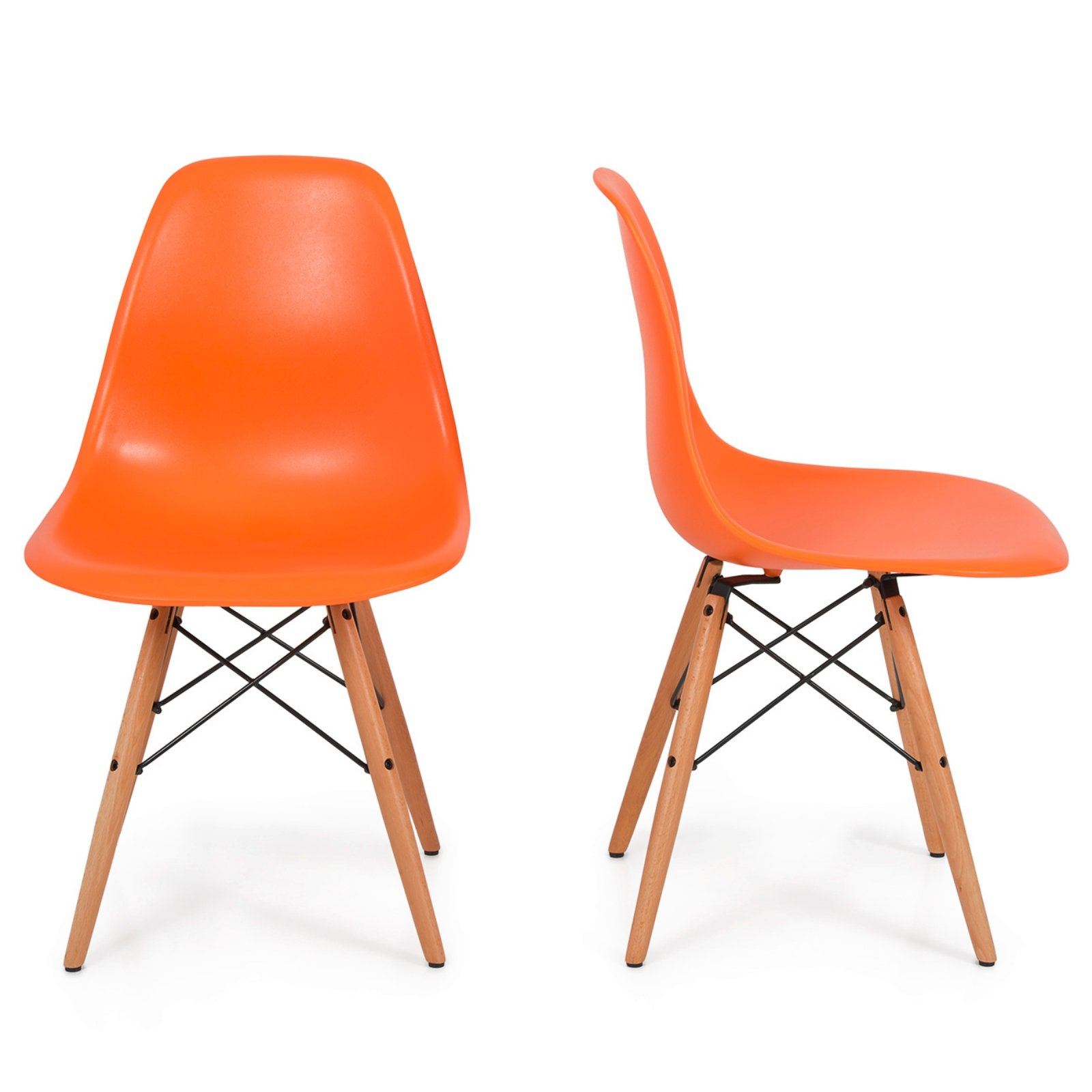 Set of 2 Retro Style Wood Base Mid Century Modern Shell Dining wooden Chair Dowel legs Orange #566