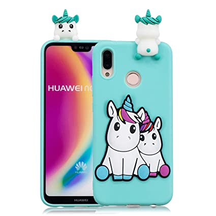 for Huawei P20 Lite Silicone Case with Screen Protector,QFFUN 3D Cartoon [Unicorn]