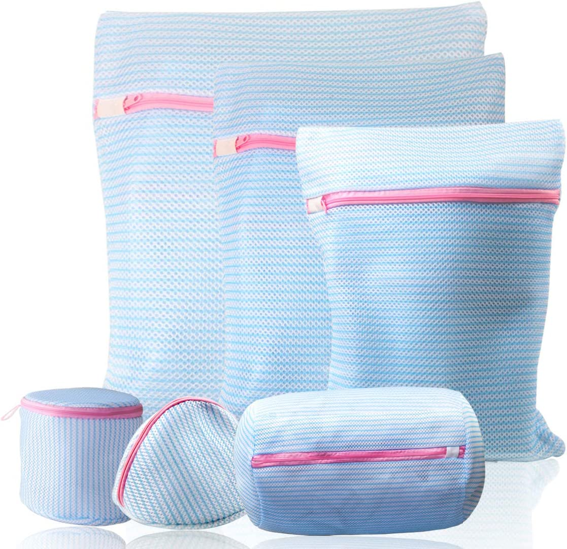 Mesh Laundry Bags for Delicates in Washing Machine, Small Medium and Large Lingerie Bags for Laundry, Blouse, Sock, Bras, Hosiery, Toys, Suitable for Women, Baby, Travel Storage Organize Bag(Blue)