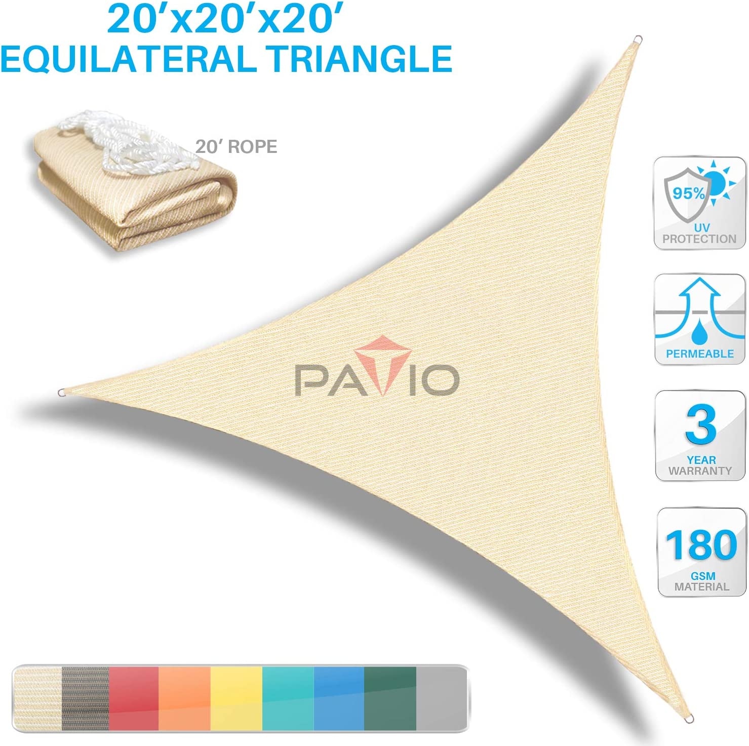 Patio Paradise 20' x20'x 20' Beige Sun Shade Sail Triangle Canopy - Permeable UV Block Fabric Durable Outdoor- Customized Available