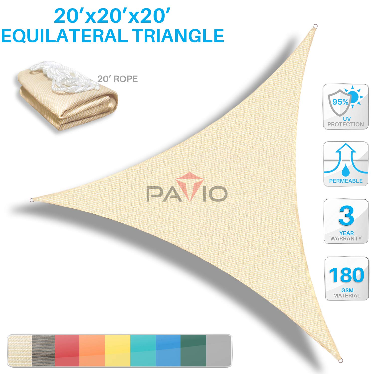Patio Paradise 20' x20'x 20' Beige Sun Shade Sail Triangle Canopy - Permeable UV Block Fabric Durable Outdoor  - Customized Available by Patio