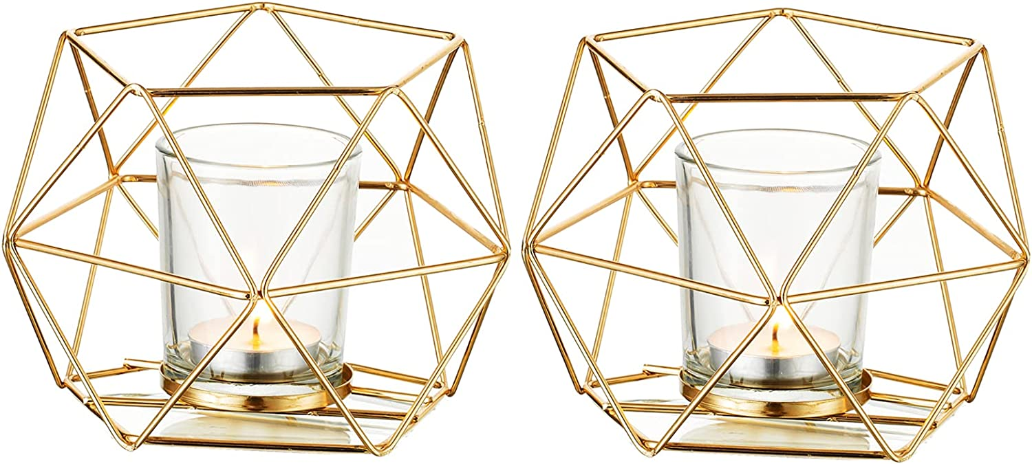 Geometric Candle Tealight Holders Gold - Faceted Holder for Tea Light Decorative Votive Candle Stand Accents for Home Table ShelfMantelModern Geo Decoration, Wedding Reception Décor, Gold, 2pcs