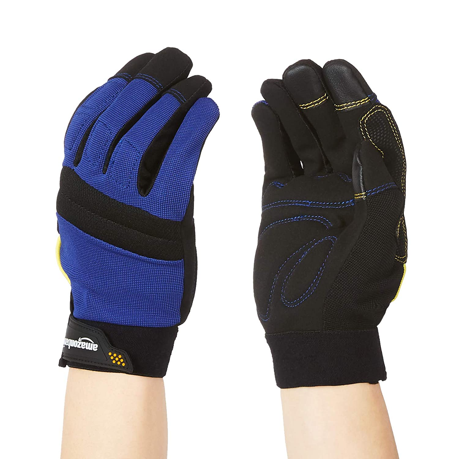 AmazonBasics Enhanced Flex Grip Work Gloves - Medium, Blue