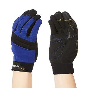 AmazonBasics Enhanced Flex Grip Work Gloves - Medium, Blue