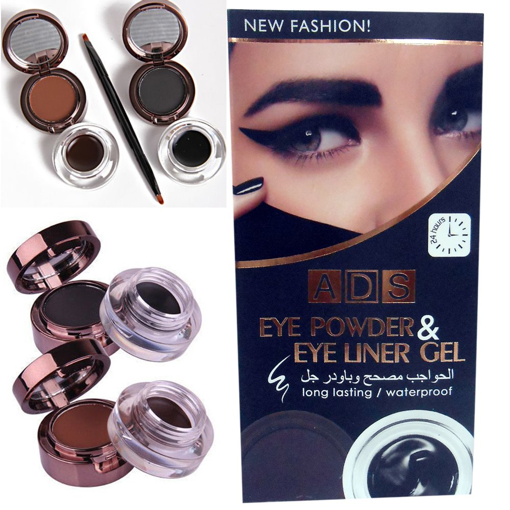 New ADS 4 in 1 Long Lasting / Waterproof Gel Eye Liner & Eye Cake Powder (2 Black and 2 Brown Gel / Cake Powder)