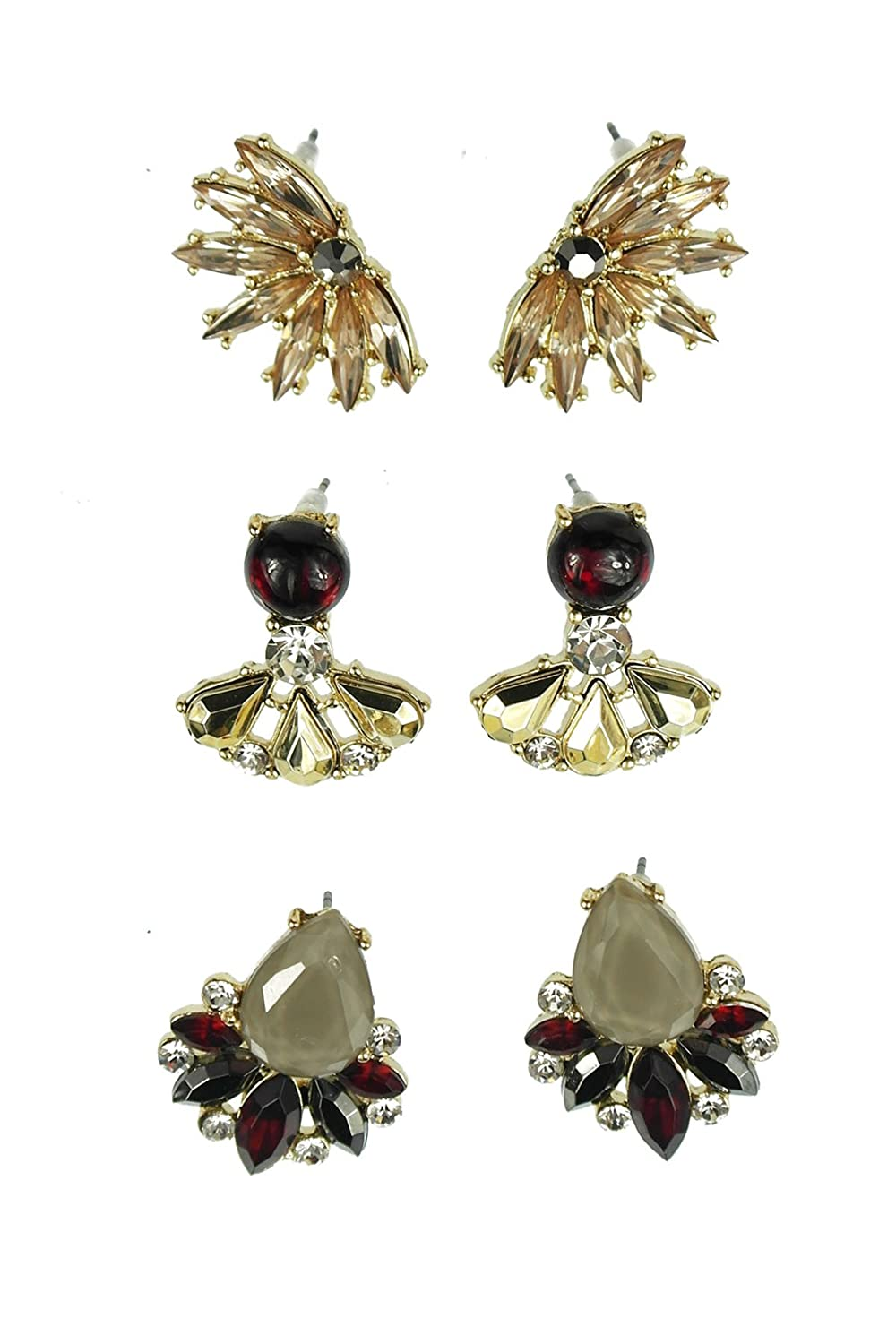 Three Vintage Gold-tone and Burgundy Crystal Style Assorted Stud Earrings Set