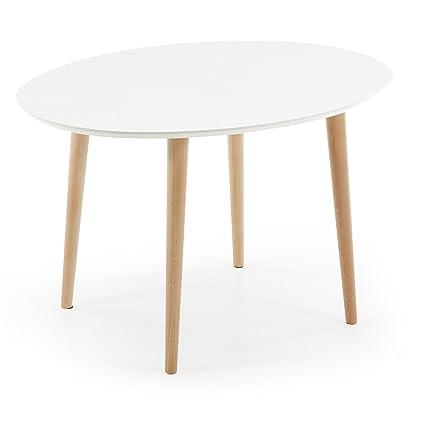 Kave Home Table Oqui ovale extensible 120-200 cm, naturel et blanc ...