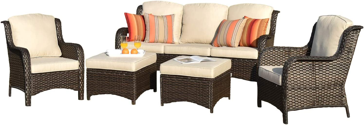 xizzi patio furniture sets clearance outdoor furniture all weather wicker patio set with weather resistant cushion 5pcs light beige