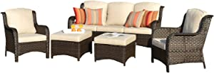 XIZZI Patio Furniture Sets Clearance,Outdoor Furniture,All Weather Wicker Patio Set with Weather Resistant Cushion(5pcs, Light Beige)