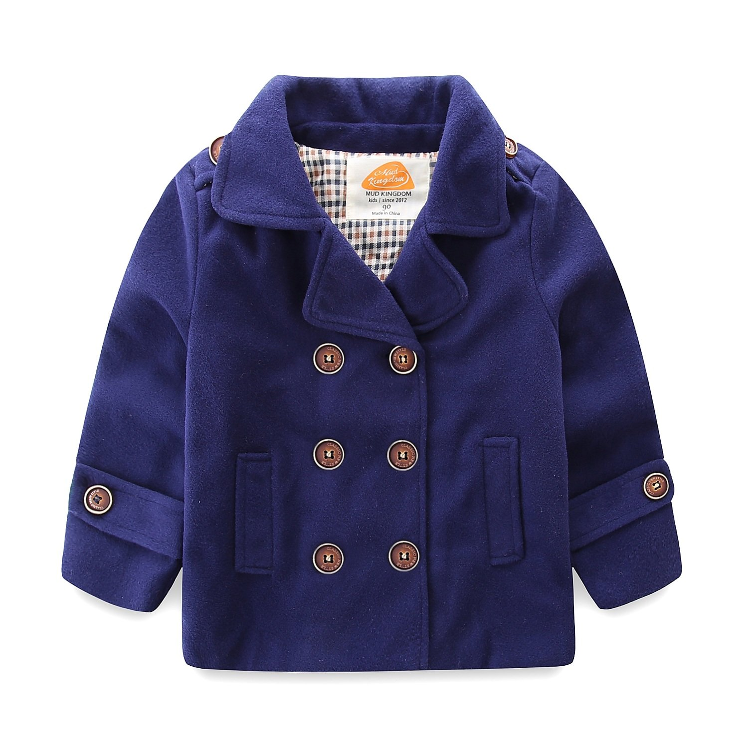 Mud Kingdom Little Boy Bomber Jacket Plain Faux Wool Coat 4T Navy