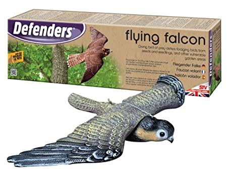 Defenders Flying Falcon Decoy (Stooping Bird-of-Prey Deterrent, 21 inch (53  cm) Wingspan for Gardens, Scares Foraging Birds from Outdoor Areas,