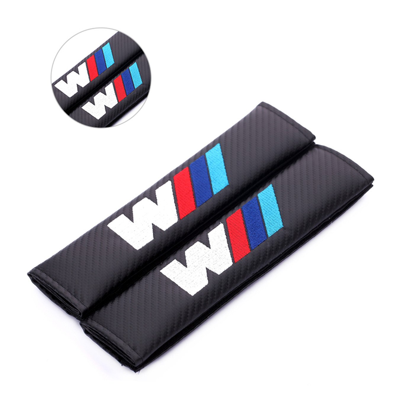 2pcs Carbon Fiber +Embroidery Car Seat Belt Cover Pad Shoulder Cushion For 3m bmw dengxiaofang01