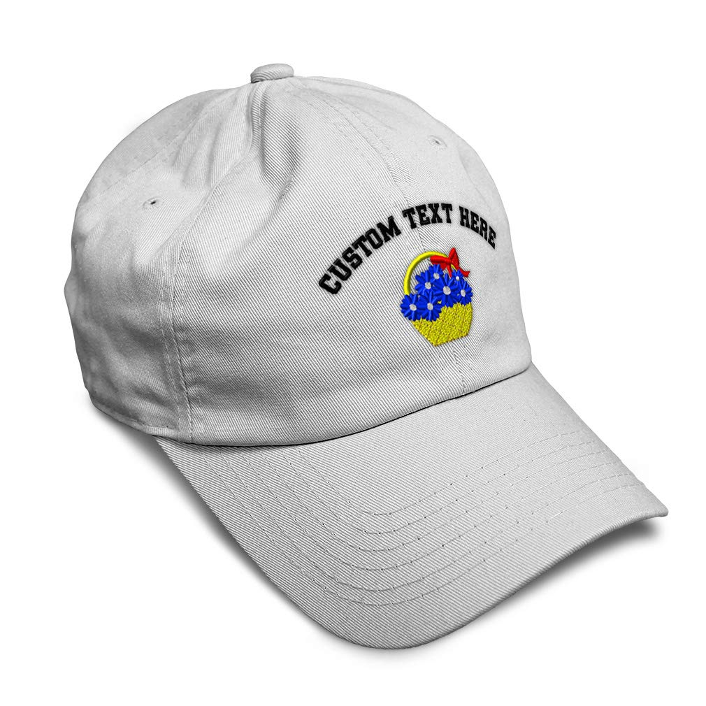 Custom Soft Baseball Cap Basket of Blue Daisies Embroidery Twill Cotton