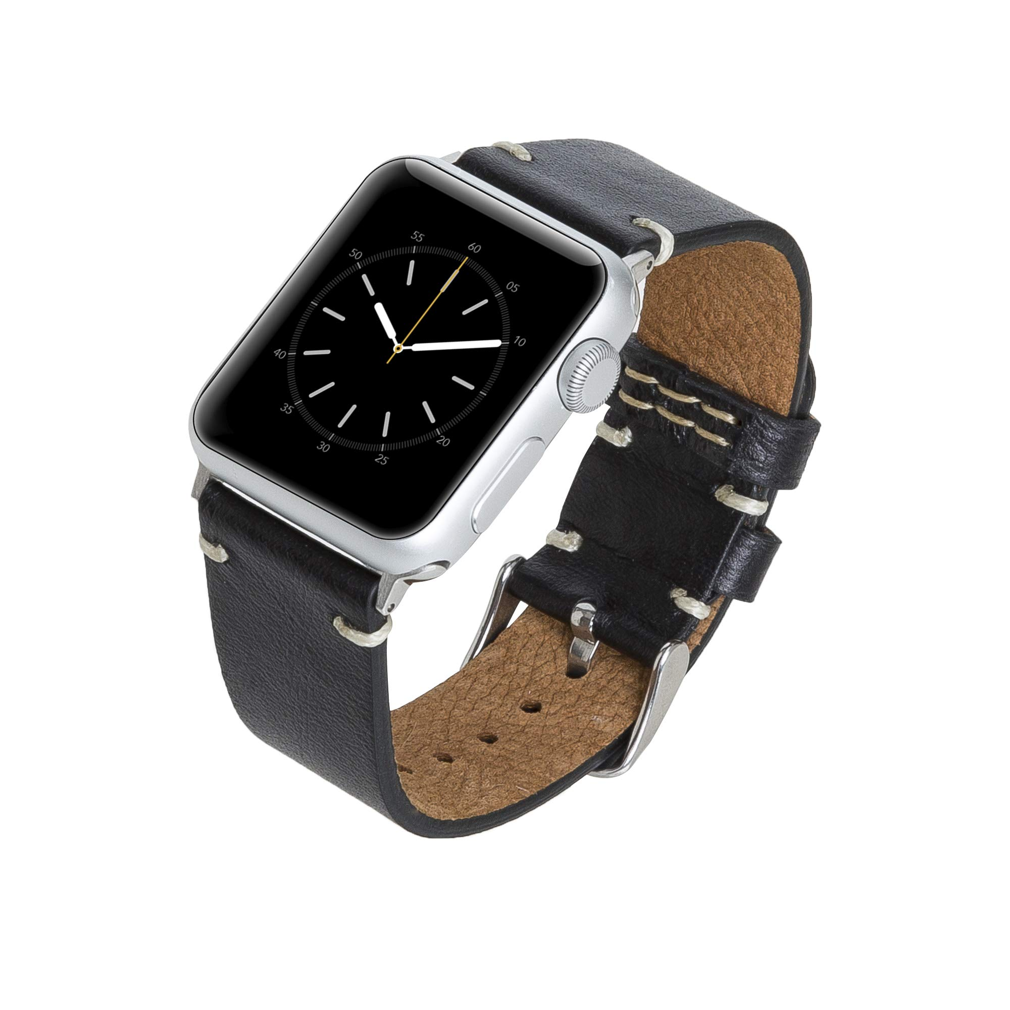Venito Sarno Handmade Premium Leather Watch Band Compatible with The Newest Apple Watch iwatch Series 5 as Well as Series 1,2, 3,4 (Rustic Black w/Silver Stainless Steel Hardware, 38mm-40mm) by Venito