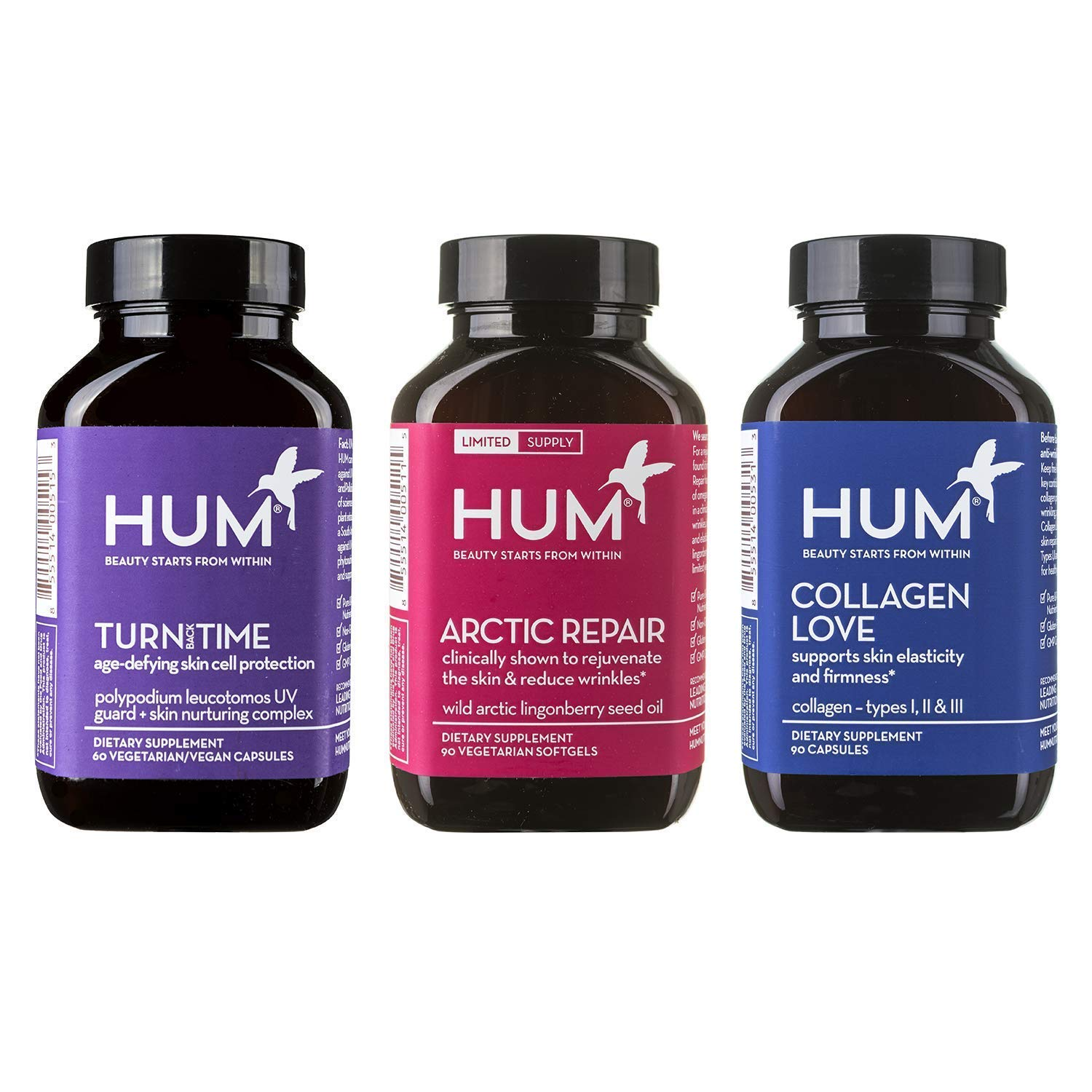 HUM Anti-Aging Supplement Set with Arctic Repair (90 Vegan Softgels), Collagen Love - Type I & III Collagen Peptides (90 Capsules) & Turn Back Time for Youthful Skin (60 Vegan Capsules)