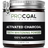 Carbone attivo denti sbiancante in polvere di Procoal–100% naturale sbiancante denti kit, fluoride-free antracite denti dentifricio sbiancante | Made in UK