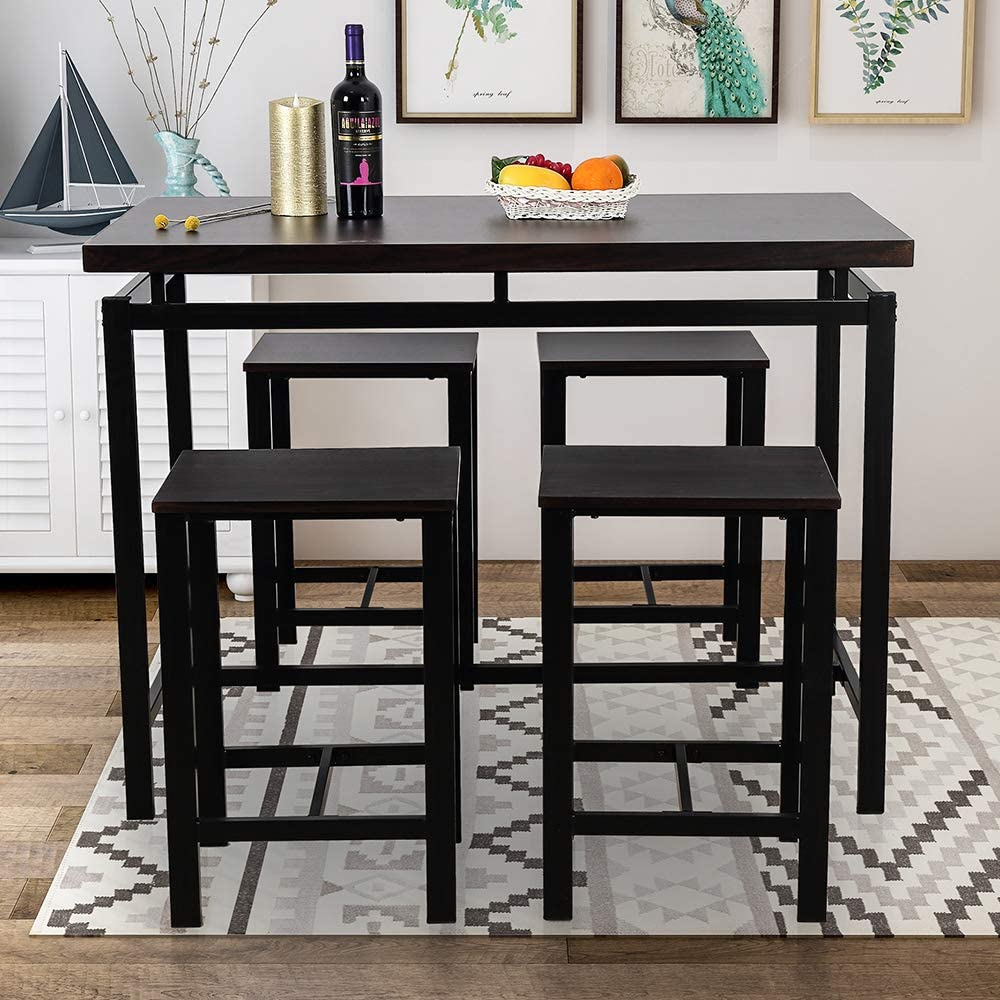 Amazon Com 5 Pieces Dining Table Set Rockjame Modern Counter Height Pub Table With 4 Chairs Perfect For The Bar Breakfast Nook And Kitchen Room Espresso Kitchen Dining