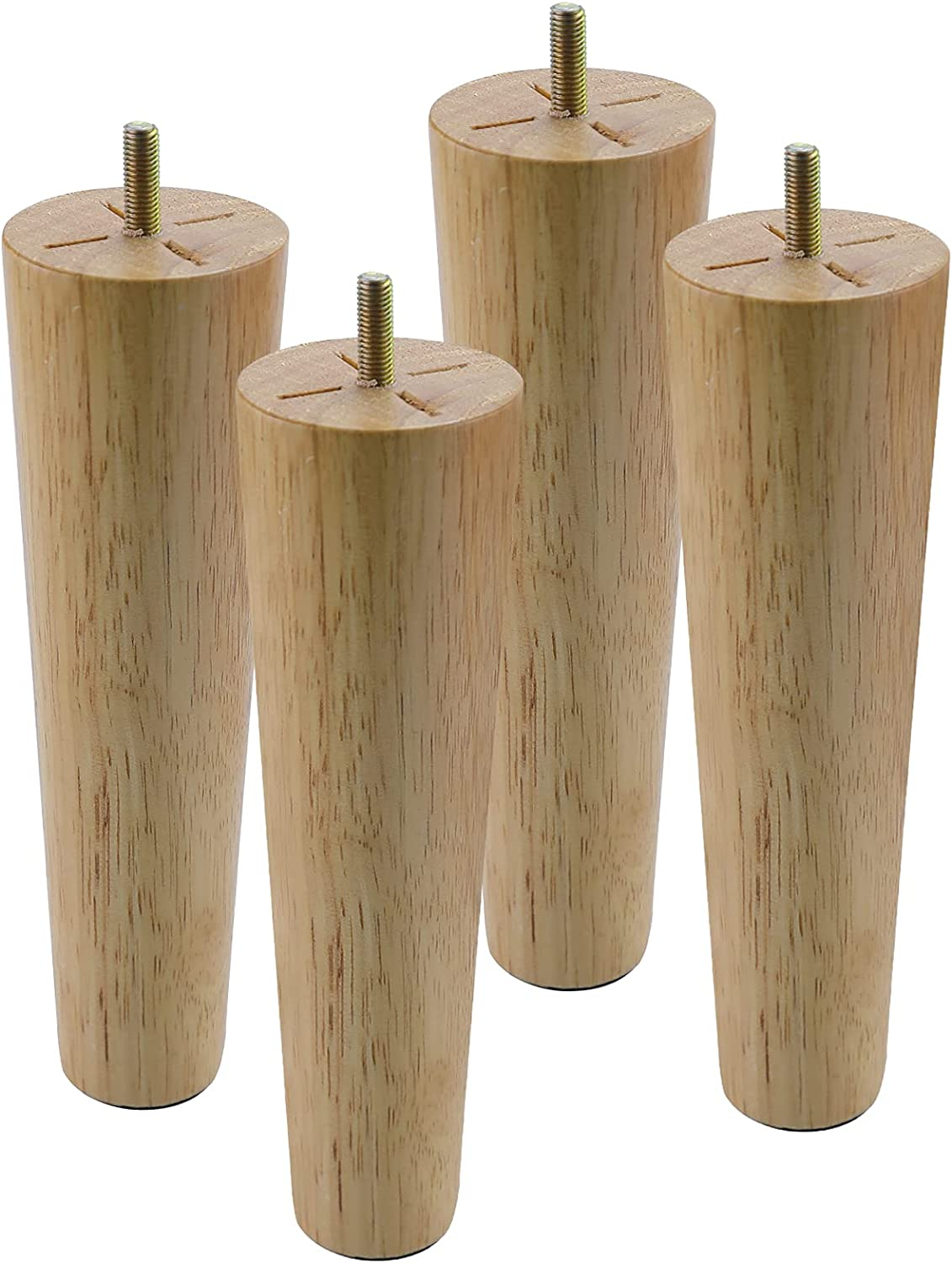 10 Inch Wooden Furniture Legs,Round Solid Wood Chair Legs for Furniture Feet with Pre-Drilled 5/16 Inch Bolt & Screws,Sofa Legs Replacement for Armchair Cabinet Dresser Ottoman Couch (Set of 4)