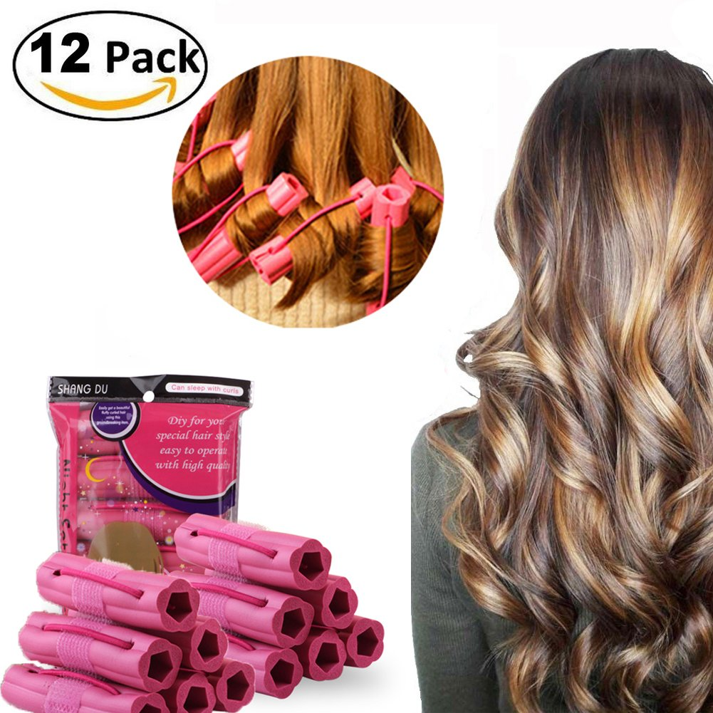 Hair Curlers, Sleeping Soft Hair Rollers, Pillow Curlers, No Heat Foam Curlers for Long Middle-Long Thick & Thin Hair, Flexible Foam Sponge Hair Rollers for Women & Girls, 12Pcs Set - Pink