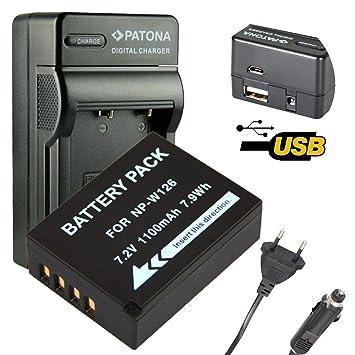 4en1 Cargador PATONA + Bateria para NP-W126 FUJI-FILM FINEPIX HS30EXR X-PRO1