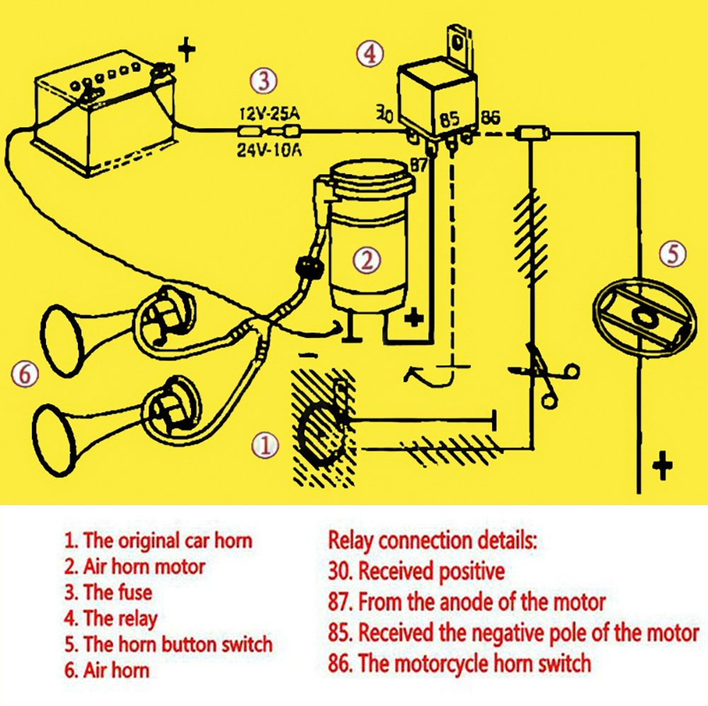 71wrXmq VxL._SL1000_ amazon com zone tech 12v dual trumpet horn premium quality musical air horn wiring diagram at soozxer.org