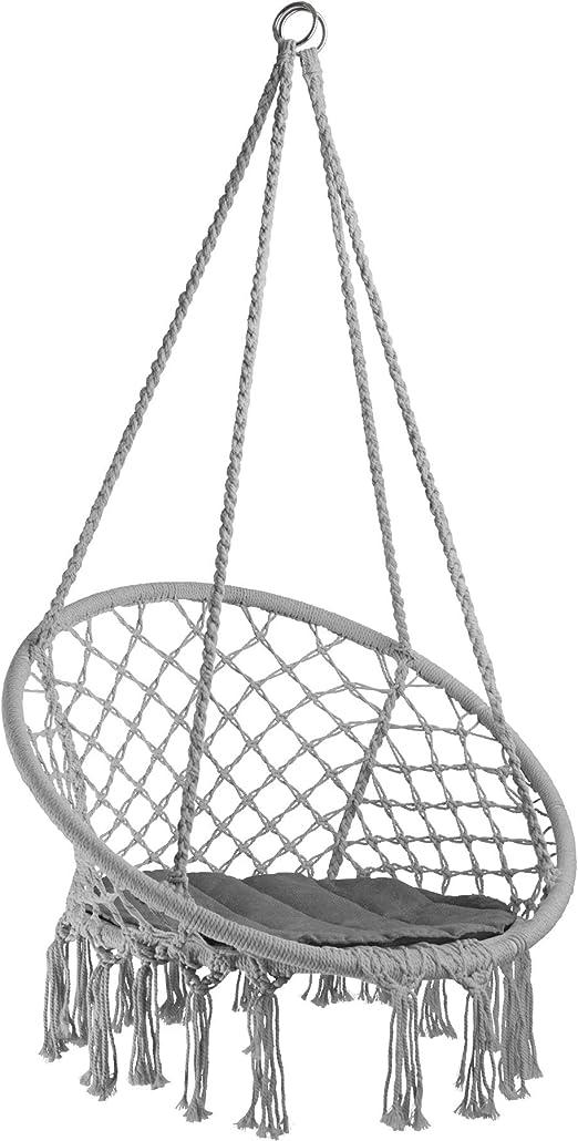 TecTake 800689 - Silla Colgante, Hamaca con Cojín, Estructura de Acero, Ideal para Jardín Exterior Terraza (Gris | No. 403116): Amazon.es: Jardín
