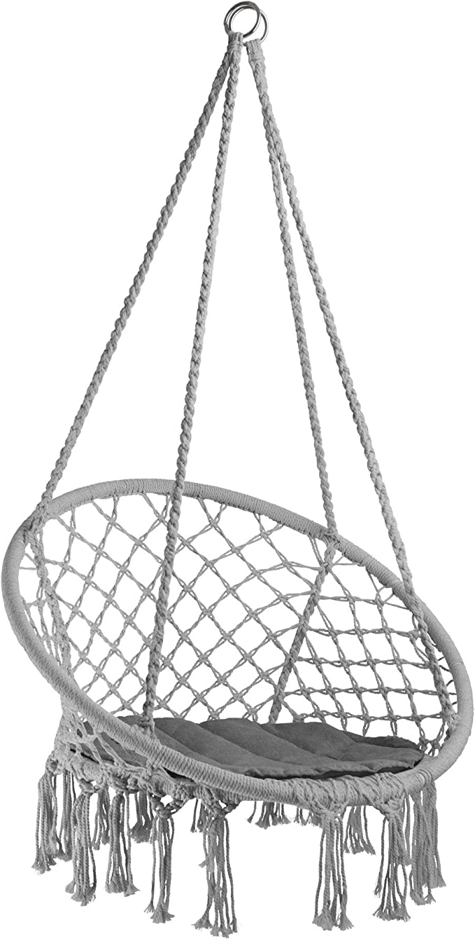 TecTake 800689 - Silla Colgante, Hamaca con Cojín, Estructura de Acero, Ideal para Jardín Exterior Terraza (Gris | No. 403116)