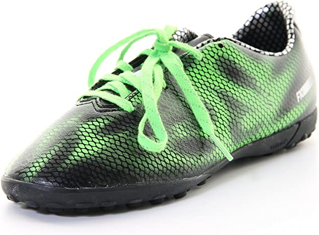 Boys Adidas F10 Black Green Astro Turf Soccer Football Boots Trainers Size 10-6