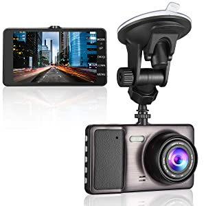 """MYPIN 1080P Front and Rear Dual Lens Dash Cam with 4.0""""Screen, 170° Wide-Angle Lens, G-Sensor, Parking Monitor, Loop Recording and Car Charger"""