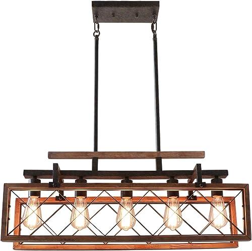 Giluta Rectangle Wood Chandelier Kitchen Island Pendant Lighting Rustic Farmhouse Chandelier Hanging Ceiling Light Fixture 5 Lights Ideal for Dining Room Living Room C0060