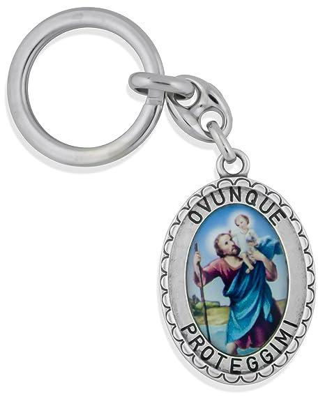 Amazon.com: Católica Saint clave Cadena con grandes Fob ...