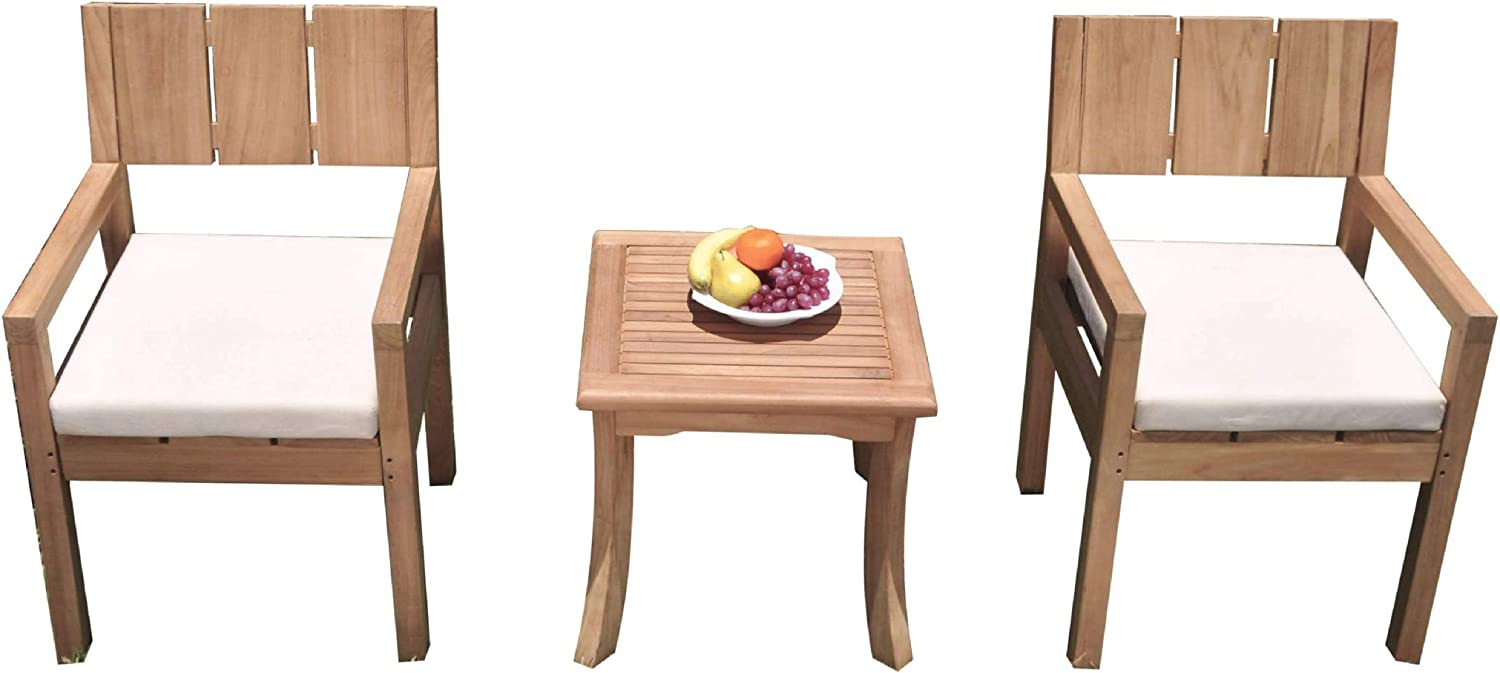 2 Seats 3 Pcs Grade-A Teak Wood Dining Set: Giva Side Table and 2 Veranda Arm Chairs #11VR2103