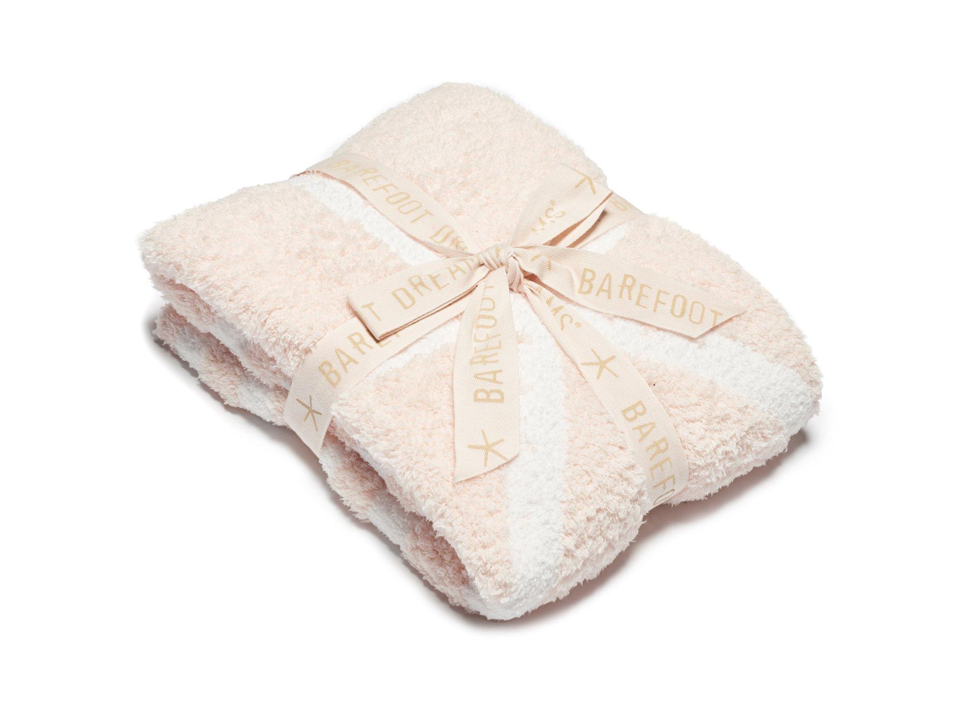 Barefoot Dreams CozyChic Starfish Blanket, Sunrise Pink/White